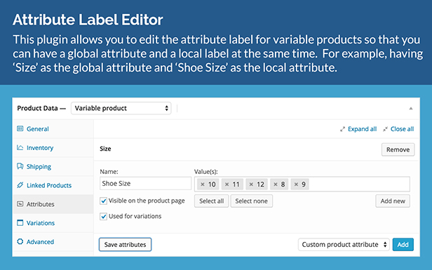 WooCommerce Product Attribute Label Editor 2